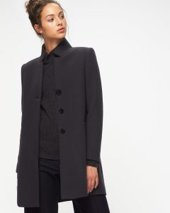Herringbone Funnel neck ladies coat, £229.00, Jigsaw