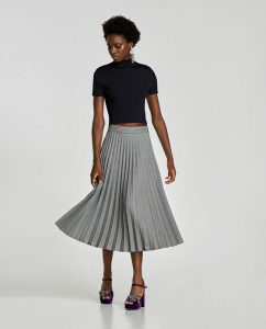 Checked high-waisted pleated skirt, £49.99, Zara