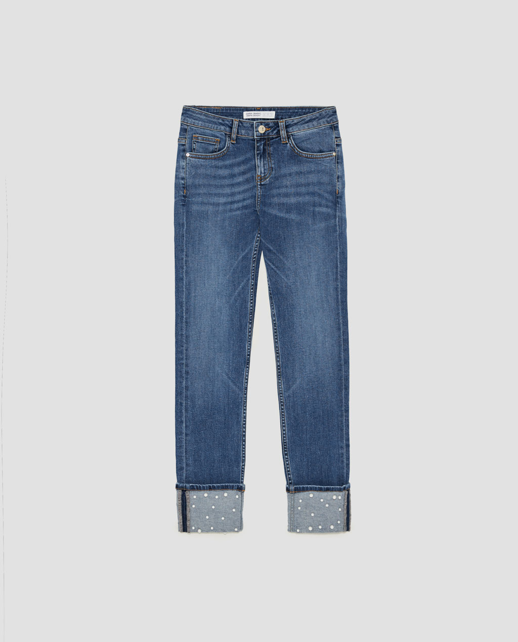 Zara mid-rise jean with pearl beads