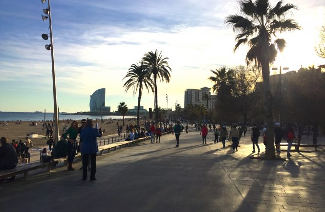 The promenade on the beach in Barcelona