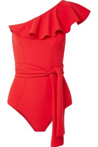 LLisa Marie Fernandez, Arden ruffled one-shoulder stretch -crepe swimsuit, £380, Net-a-Porter
